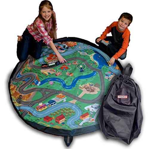 Drawstring Train Mat - 5' - Play for Hours and Clean up in Seconds - No Need for Bulky Train Tables or Big Rugs - Perfect Storage and Travel Solution - (Train not Included) - By Creative QT (Train Child Play Rug)