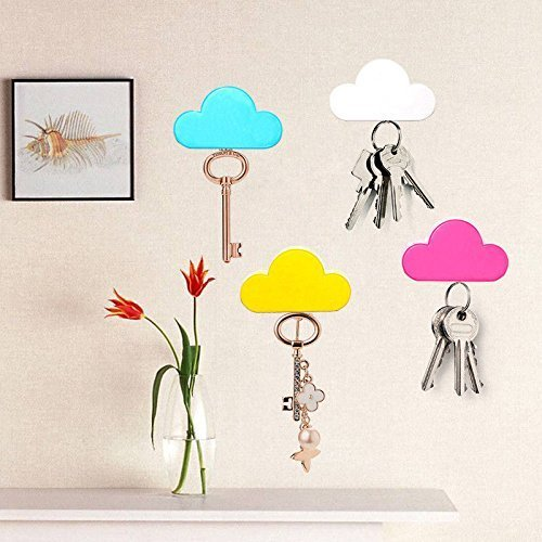 Yellow Pink Creative Novelty Cute Cloud Shape Magnetic Magnets Key Holder Wall Keychains Hanger Home office Decoration ()