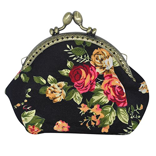 Oyachic Coin Pouch Canvas Card Purse Clasp Closure Classic Rose Pattern Keys Wallet Gift Round(black)