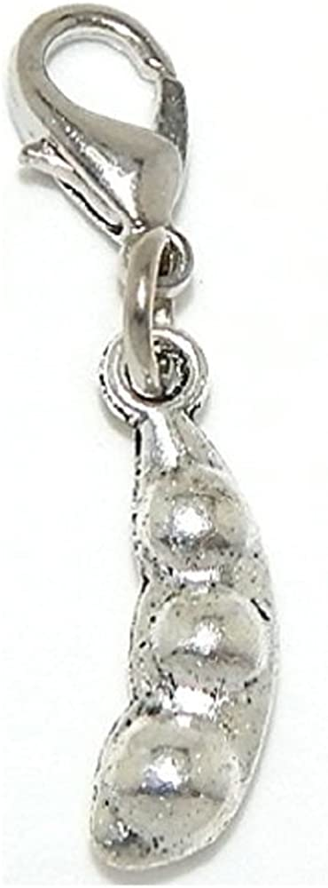 GemStorm Silver Plated Dangling Peas in a Pod Clip On Lobster Clasp Charm
