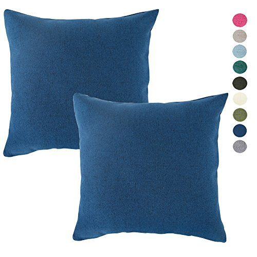 Set of 2 Throw Pillow Covers Coastal Cushions Fine Faux Linen Home Decorative Soft Pillow Case Covers With Zipper for Chair No Pillow Insert Outdoor Indoor Home Decor(20 x 20 inch, Federal Blue)