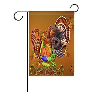 "ONEERA Thanksgiving Day Turkey Pumpkin Fruits Weatherproof Polyester Garden Flag 12"" x 18"" Seasonal Home Banner"
