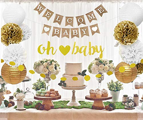 Gender Neutral Baby Shower Decorations, White, Gold, Burlap Welcome Baby Banner, Gold Oh Baby Banner, Biodegradable Pom Pom, Lantern, Cute Gender Reveal for Boys or Girls Party Decorations -