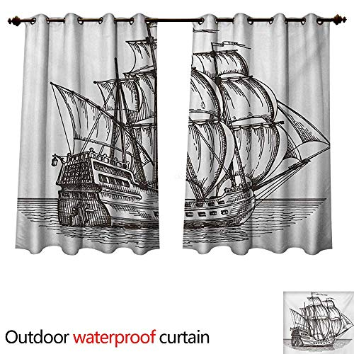 Floral Bow Ships Large (WilliamsDecor Pirate Ship Home Patio Outdoor Curtain Old Retro Style Ship Floating on Water Antique Cruise Marine Sketch Art W63 x L72(160cm x 183cm))