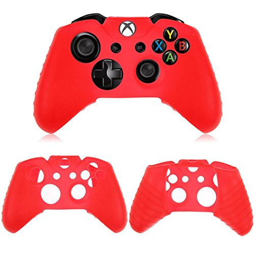 Price comparison product image DZT1968 Washable Anti-slip Silica gel Case For Xbox One Wireless Controller (red)