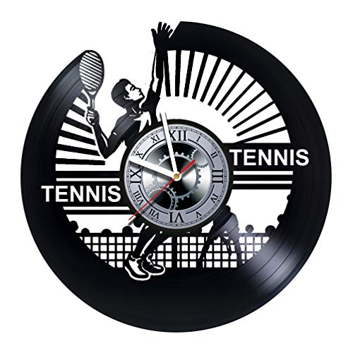 studioRUTART Tennis - Wall Clock Made of Vinyl Record - Handmade - Unique Design - Incredible Gift Idea for Christmas Birthday Anniversary Women Men Boyfriend Girlfriend Teens Friends Sport Hobby ()