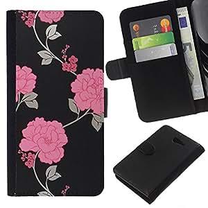 KingStore / Leather Etui en cuir / Sony Xperia M2 / Noir Floral Wallpaper