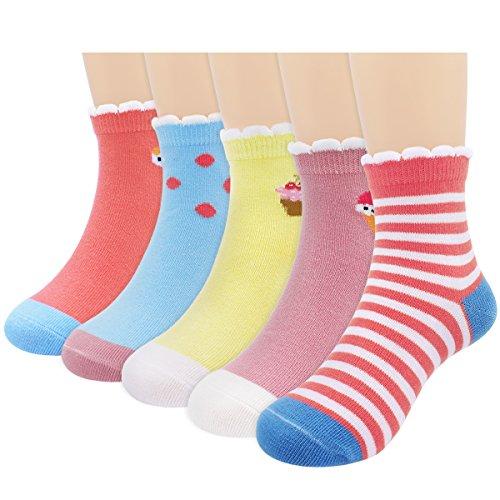 (Baby Toddler Little Girls' Ankle Cute Cotton Crew Socks 5 Packs Medium (4-6 years)