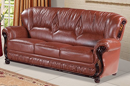 Meridian Furniture 639BR-S Mina Leather Upholstered Sofa with Rolled Arms and Solid Wood Traditional Handcrafted Accents in Rich Mahogany Finish, Brown