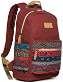 Kinmac Wine Red-Bohemian Canvas Small Size Laptop Backpack with Massage Cushion Straps for Laptop Up to 13 inch Travel Outdoor Backpack teenagers girls women Student Kids' Backpack