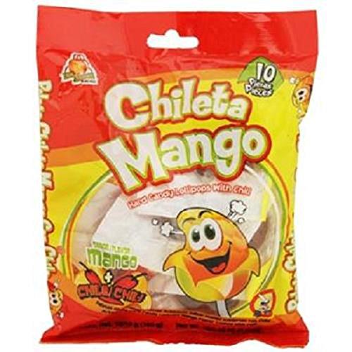 Product Of El Azteca, Chileta Lollipops Mango W/Chili - Bag, Count 10 - Sugar Candy / Grab Varieties & (Count Lollipops)
