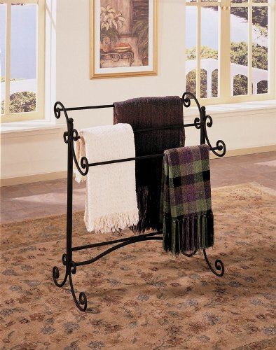Scroll Metal Blanket Rack in Black Finish with Gold Highlights