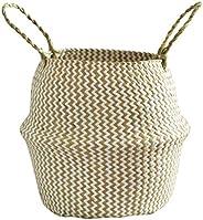 BXzhiri Seagrass Wicker Basket Flower Pot Folding Basket for Storage Home Decoration Laundry Picnic Plant Pot