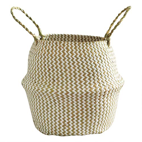 BXzhiri Seagrass Wicker Basket Flower Pot Folding Basket for Storage Home Decoration Laundry Picnic Plant Pot Cover (Baskets Washing Wicker)