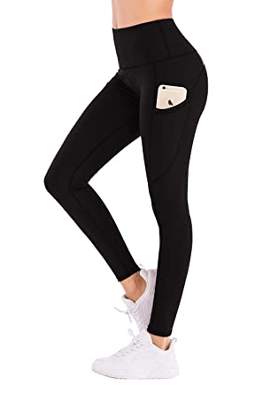 a154a2d722b IMIDO Women's Yoga Capri Leggings Athletic Workout Running Sports Active  High Waist Yoga Pants with 3 Pockets 4 Way Stretch