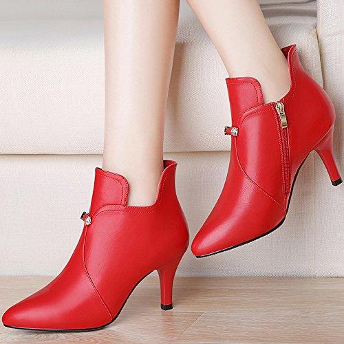 KPHY-7Cm Otoño E Invierno Zapatos De Boda Una Sola Red Tacones Altos Zapatos De Novia Zapatos De Mujer Todo Concuerda Bien Con El Coreano Marea Treinta Y Ocho De Gules Thirty-eight