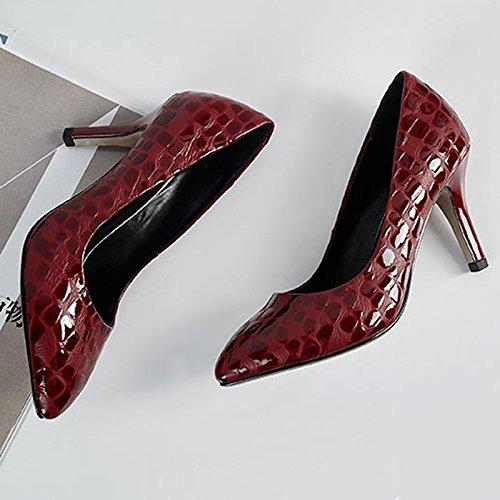 YIXINY Pumps NQ17CDG201 Frühling Und Herbst Mode Steinmuster Damen Fein Schuhabsatz Seicht Schnalle Damen Steinmuster High Heels ( Farbe : Rot , größe : EU38/UK5.5/CN38 ) Rot 67b327