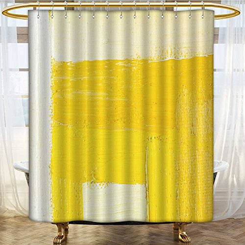 Shower Curtains Waterproof Wallpaper Texture Background n Original Oil White and Yellow Fabric Bathroom Decor Set with Hooks W72 x H78 inch