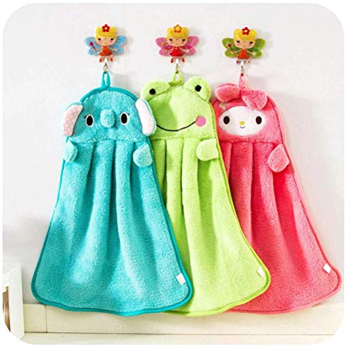 - Baby Nursery Hand Towel baby bath towels Toddler Soft Plush Cartoon Animal Wipe Hanging Bathing Towel For Children Bathroom