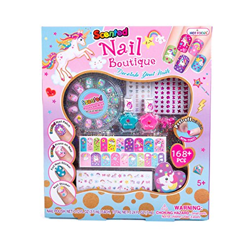 Hot Focus Scented Nail Boutique - 168 Piece Unicorn Nail Art Kit Includes Press on Nails, Nail Patches, Nail Stickers, Nail Polishes, Nail File and Ring - Non-Toxic Water Based Peel Off Nail Polish