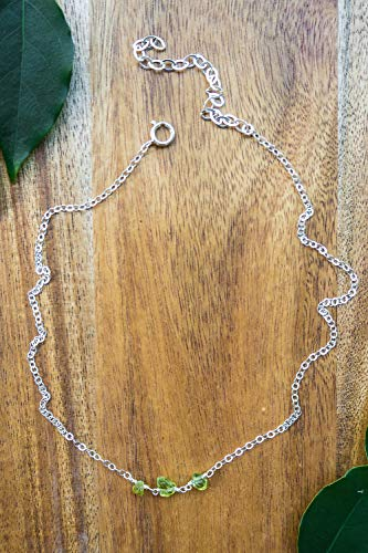 Peridot beaded chain choker necklace in 925 sterling silver - 12