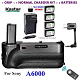 Kastar Infrared Remote Control Pro Vertical Battery Grip (Built-In 2.4G Wireless Contro) + 4 x NP-FW50 Replacement Batteries + Charger Kit for Sony ILCE-A6000 / A6000 Digital SLR Camera