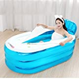 Bathtubs Freestanding Adult Folding Blue Inflatable Bucket Household Fill Children's Plastic (Color : Blue Foot Pump, Size : 1307766cm)
