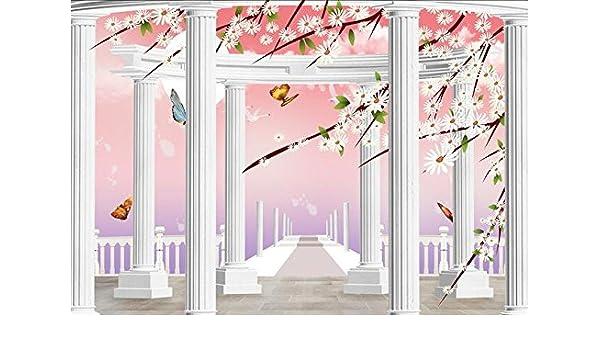 Huytong 3D Papel Pintado Sala De Estar Dormitorio Pegatinas De Pared Mural Pinturas De Columna Romana De Flor De Mariposa 300Cmx240Cm|118.11(In) X94.48(In): ...