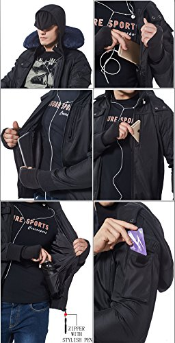 BOMBAX Men Travel Jacket Hoodie 10 Pocket/Pillow Flight Bomber Coats(L)