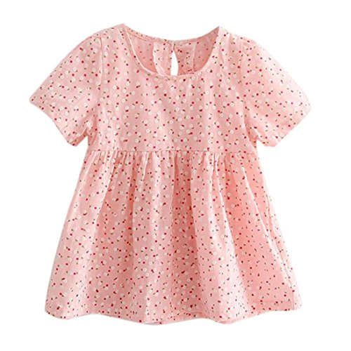 Pulison(TM) Summer Kids Baby Girl Floral Printing Short Sleeve Princess Dress Clothes (130)