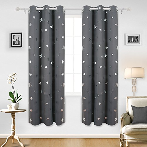 Deconovo Blackout Curtains Sliver Star Print Solid Thermal Insulated Blackout Curtain 42 X 84 Inch Grey One Pair