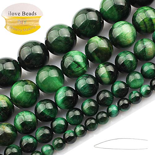 ILVBD Natural Round Blue Green Rose Gold Red Multi-Color Tiger Eye Gemstone Beads for Jewelry Making (Green, ()