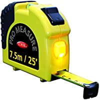 AA Tape Measure with Built-In Torch and Spirit Level – 7.5m/25ft All In One Measuring Tape – Recoil Speed Control