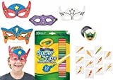 Superhero Party Set for 12 Boys or Girls, 12 Super Hero Color Your Own Mask, Crayola Super Tips 20 Washable Markers, 72 Lightning Tattoos & Emoji Pin - Super Fun Party Favors or Birthday Activity Set