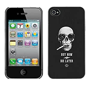 Planetar® ( Buy Now Die Later Skull Cool Shopping ) iPhone 4 / 4S Fundas Cover Cubre Hard Case Cover