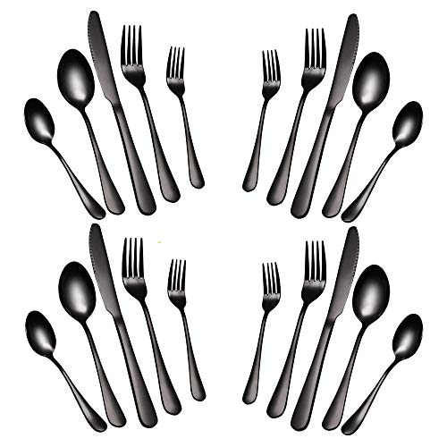 Black Silverware Set, Flatware Set 20 Piece Stainless Steel Cutlery Mirror Polished Utensil Tableware Sets, Include Knife Fork Spoon for Kitchen Service for 4