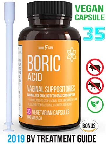 Fast Relief Vegan Capsule Boric Acid Vaginal Suppositories 600Mg 35ct Bonus EBook -