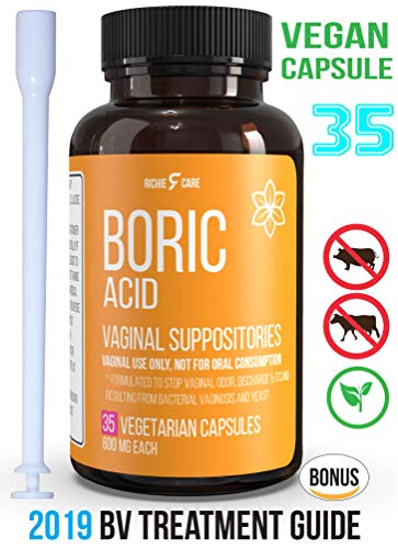 Fast Relief Vegan Capsule Boric Acid Vaginal Suppositories 600Mg 35ct Bonus EBook -