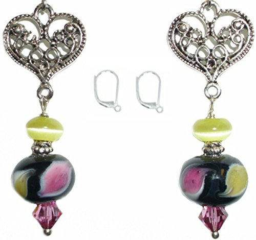Artisan Lampwork Earrings (Black lampwork Pink Swarovski Yellow Cats Eye Silver Plated Heart Artisan Bead Earring Set (2. LEVER BACKS Nickel Free Hypoallergenic))