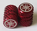 Yamaha 90338-W1018-RE - Set Of 2 Genuine Yamaha Tuning Fork Half Knurl Red Tyre Tire Valve Caps Dust Caps Protectors For Motorcycles, Bicycles, ATV , Car , Van