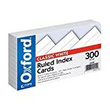 Oxford Ruled Index Cards, 3' x 5', White, 300 pack (10022)