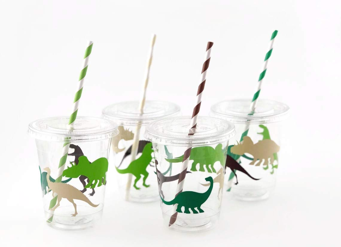 Dinosaur Cups - Set of 12 Dino Birthday Party Supplies for Kids Parties by Stesha Party