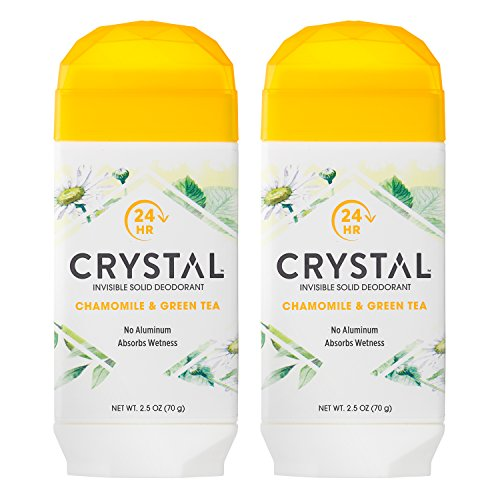 Green Tea Deodorant Stick - Crystal Deodorant Stick, Invisible Solid, Aluminum Free, Chamomile & Green Tea, 2.5 oz (Pack of 2)