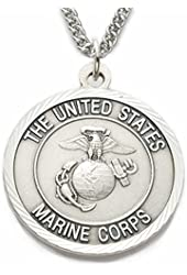 """Sterling Silver 1"""" U.S. Marines Corps Medal w/ St. Michael on Back on 24"""" Stainless Steel Chain"""