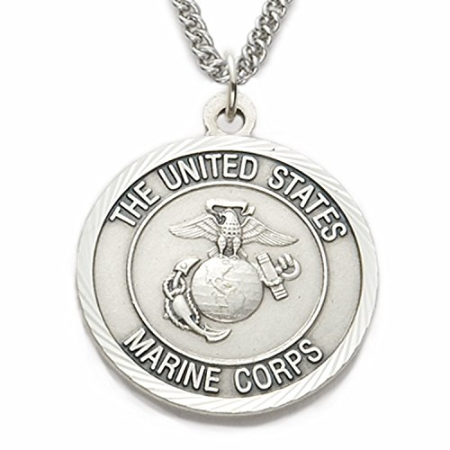 (TrueFaithJewelry Sterling Silver United States Marine Corps Medal with Saint Michael Back, 1 Inch)
