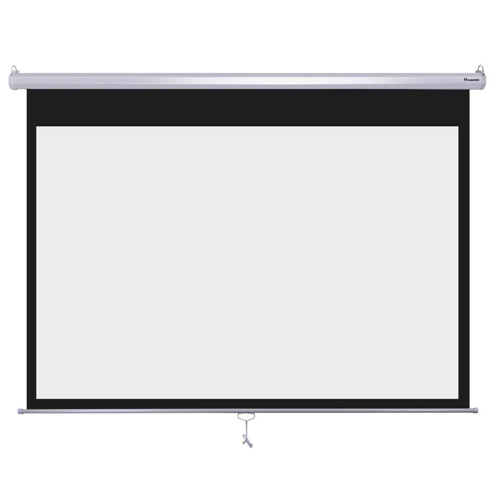 Instahibit 72'' 16:9 Manual Pull Down Projector Screen Self-Locking Home Meeting Room Classroom Restaurant Bar