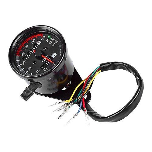 LTC ® Universal 12V Motorrad 13000RMP Drehzahlmesser Tachometer Km/h Kilometerzähler Odometer mit LED Hintergrundlicht Schwarz
