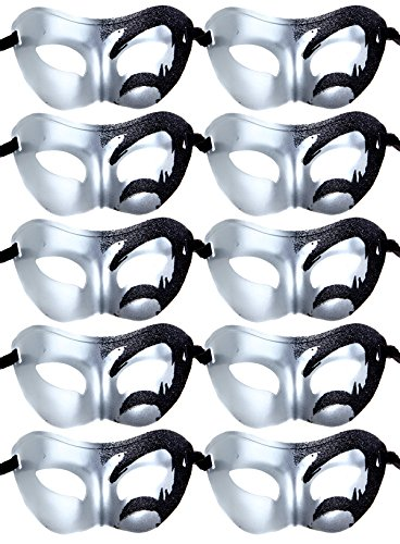 IETANG 10pcs Set Mardi Gras Half Masquerades Venetian Masks Costumes Party Accessory (0-Silver&Black) by IETANG