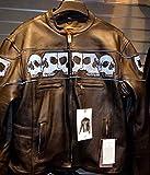 Men's Motorcycle Biker Blk Vented Reflective Skull Leather jacket zip out liner (3XL Regular)