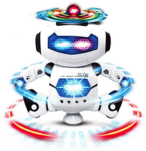 jkbfyt Smart Electronic Dancing Robot Toy,Dancing Robot Toy for Children - Electronic Walking Spinning . Arms and Legs Movement for Toddlers with Flashing Lights and Dance Music ()